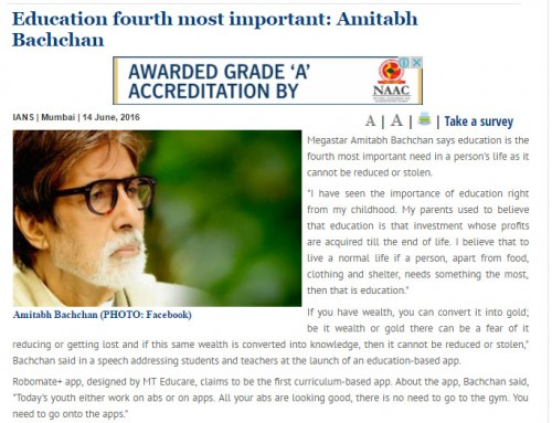 Amitabh Bachchan unveils MT Educare's Education App 'Robomate+':covered by THE-STATEMAN