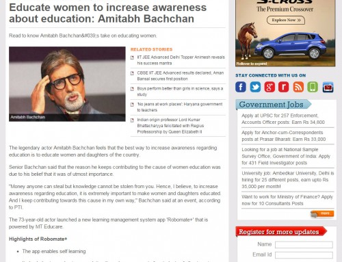 Amitabh Bachchan unveils MT Educare's Education App 'Robomate+':Covered by india-today