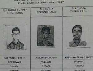 CA Final Toppers 2017 list announced