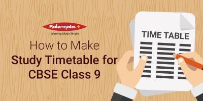 Study Timetable CBSE Class 9