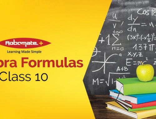 Algebra Formulas Class 10